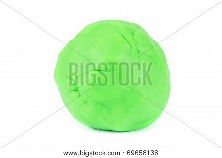 Ball Of Green Play Dough On White