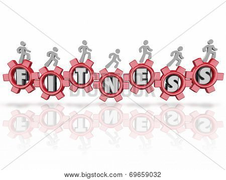 People running, walking or jogging on letters in gears spelling the word Fitness for exercise, healthy lifestyle and wellness