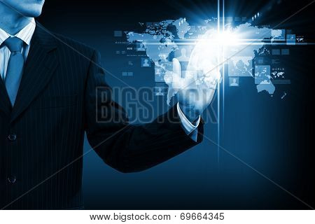 Close up of businessperson touching icon of media screen
