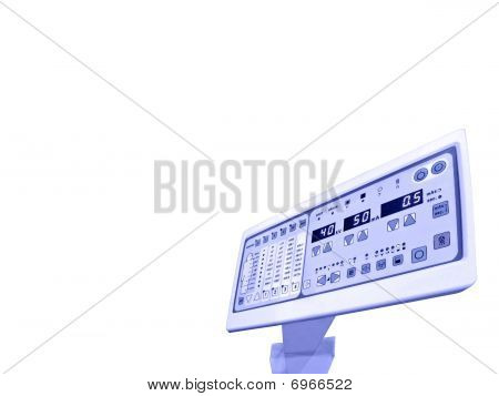 blue Digital Control Panel, Anatomy Patient Test, Isolated on white background