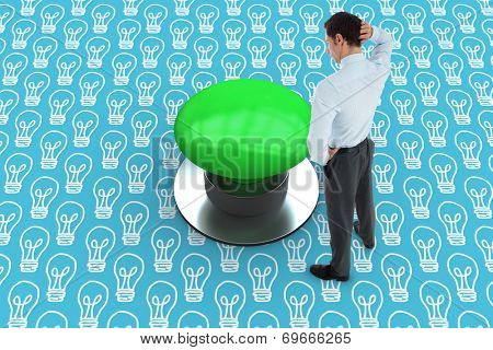 Thinking businessman scratching head against blue graphic background