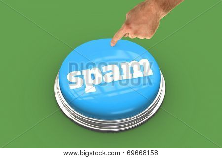 The word spam and hand pointing against green background