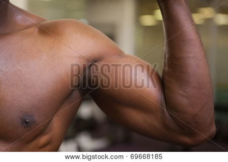 Close up of muscular man flexing muscles in gym