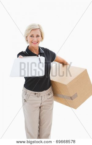 Happy delivery woman looking for signature on white background