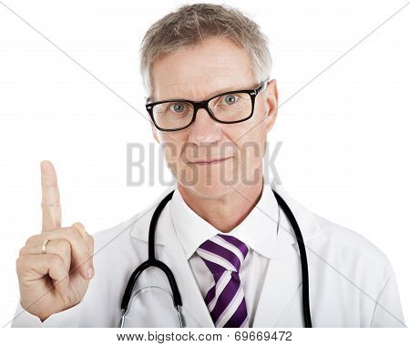 Middle-aged Doctor Pointing Above His Head