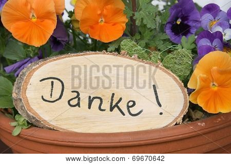 Rustic Signboard With Thanks And Viola Flowers