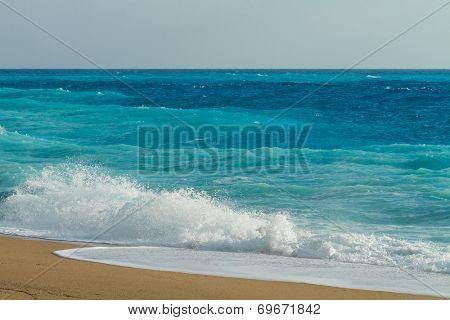 Crashing waves in Lefkada Greece