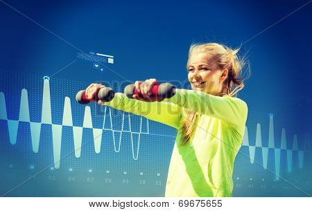 sport, fitness, training and lifestyle concept - young sporty woman with light dumbbells outdoors