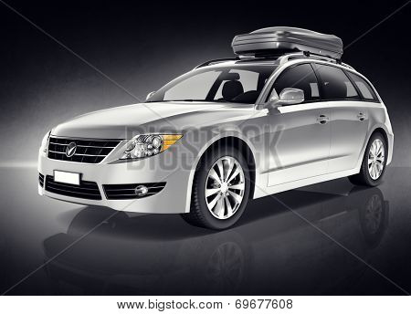 Silver Sports Utility 3D Vehicle