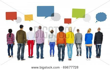 Rear View of Diverse People and Empty Speech Bubbles