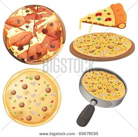 Illustration of pizza and a slice of pizza