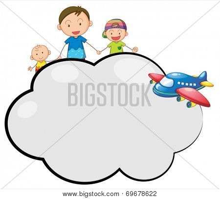 Illustration of an empty cloud callout with a family and a plane on a white background