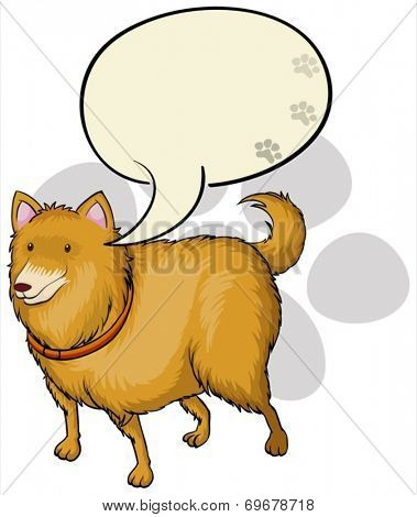 Illustration of a dog with an empty callout template on a white background