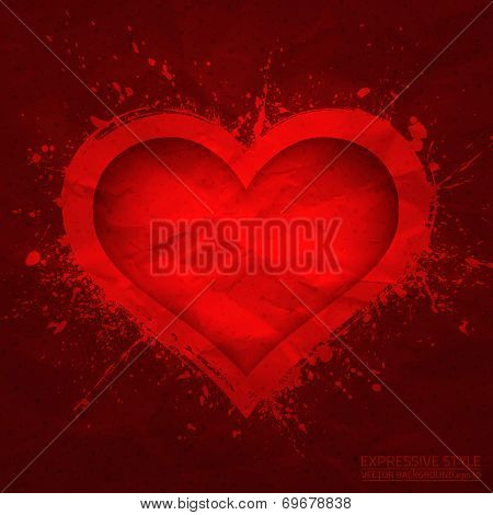 Creased Old Vector Paper With Cut Red Heart Background