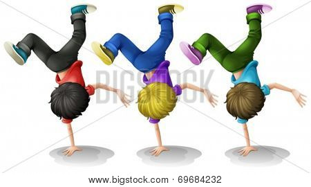 Illustration of three boys doing a handstand
