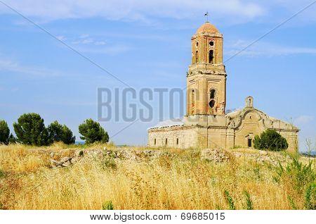 view of the Sant Pere Church in Poble Vell de Corbera d'Ebre, in Spain