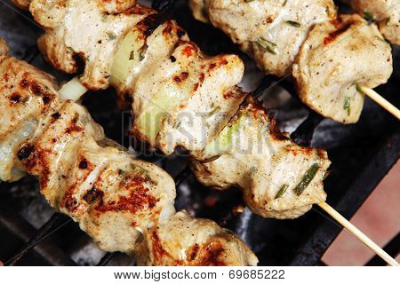 healthy shish kebab - ready grill barbecue chicken turkish meat on skewers over charcoal brazier outdoor