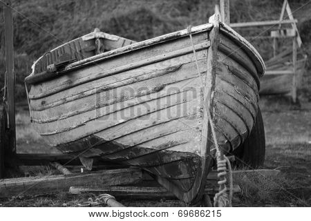 Old Wooden Fishing Boat On A Trailer