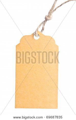 Blank Tag Tied With Brown String Isolated Against A White Background