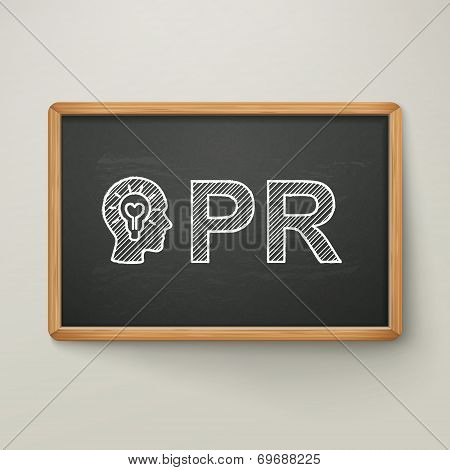 Pr On Blackboard In Wooden Frame
