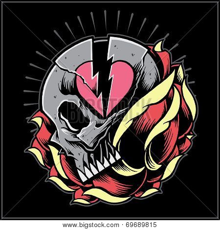 Skull heart break and rose
