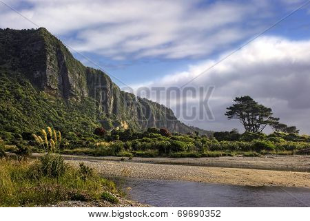 Punakaiki cliffs and river mouth, West Coast, South Island, New Zealand