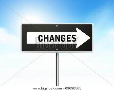 Changes On Black Road Sign
