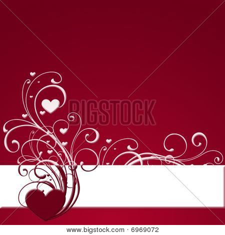 Red Banner With Hearts