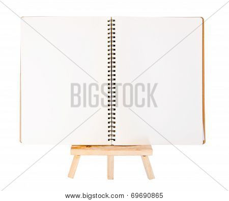 Open Diary Ring Binder On Small Tripod For Painting. Isolated On White Background.