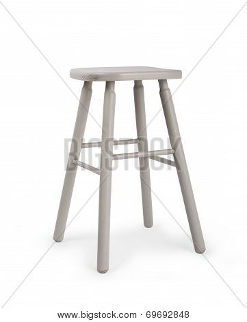 Old Wooden Grey Stool Isolated