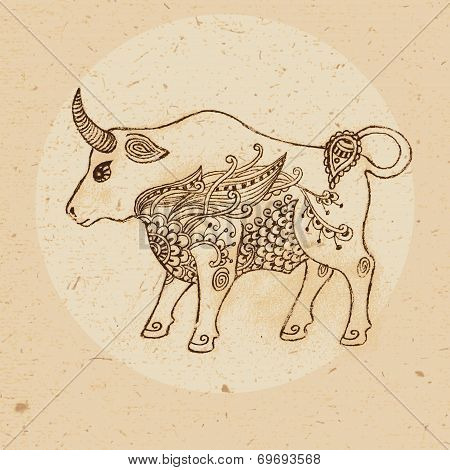 Bull with elements of the ornament in ethnic style. Zodiac sign