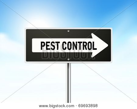 Pest Control On Black Road Sign
