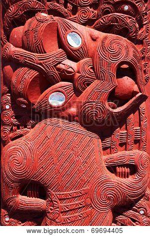 Maori wood carving, Rotorua, New Zealand - November 11