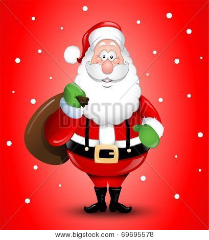 Smiling Cartoon Santa Claus illustration greeting card eps10