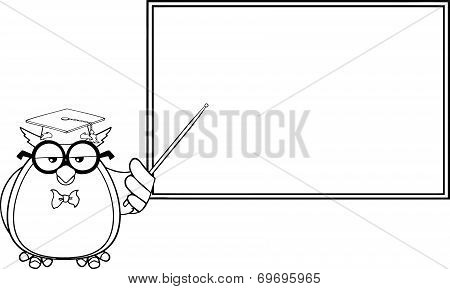 Black And White Wise Owl Teacher Cartoon Character In Front Of School Chalk Board