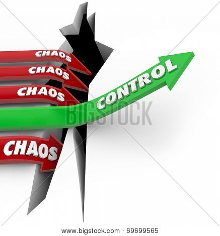 Control word on a green arrow rising over a problem or trouble while Chaos on red arrows plunge into the pit of failure