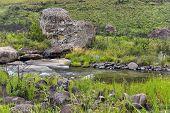 foto of natal  - River and rocks in Giants Castle KwaZulu - JPG