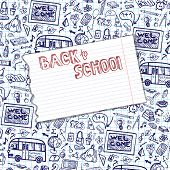 pic of drow  - Back to School Supplies Sketchy Notebook Doodles pattern with  Swirls - JPG