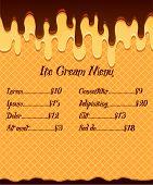 image of vanilla  - Ice cream menu or price poster on waffle vanilla ice cream in mouthwatering chocolate glaze background - JPG