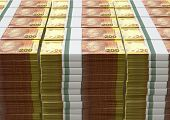foto of nelson mandela  - A pile of stacked wads of south african rand banknotes on an isolated background - JPG