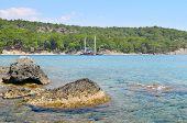 stock photo of sea-scape  - A beautiful sea scape and pleasure boat - JPG