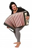 foto of accordion  - beautiful young brunette with accordion isolated on white background - JPG