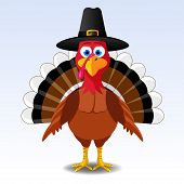 stock photo of happy thanksgiving  - Happy Thanksgiving turkey - JPG