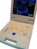 stock photo of ultrasound machine  - one new medical keyboard control panel measurement display - JPG