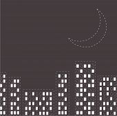 picture of moon silhouette  - Silhouette of the night city - JPG