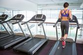 stock photo of treadmill  - Fit brunette running on the treadmill at the gym - JPG