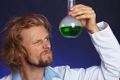 foto of mad scientist  - Crazy scientist working in laboratory - JPG