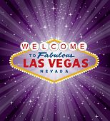 pic of roulette table  - vector Las Vegas sign over the purple night star burst - JPG