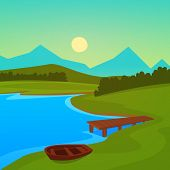 pic of dock a lake  - Summer landscape on the lake with dock - JPG