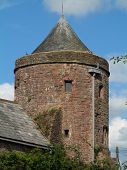 picture of stockade  - Castle tower photographed at Tiverton in Devon - JPG